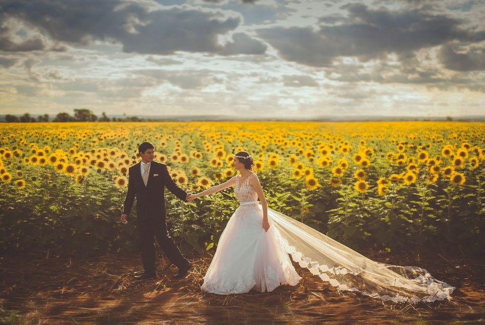 Mire si mireasa in lan de floarea-soarelui - nuntapeplaja.ro