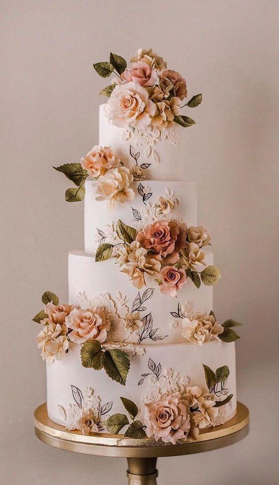 Aranjamente florale integrate în decorul tortului - nuntapeplaja.ro
